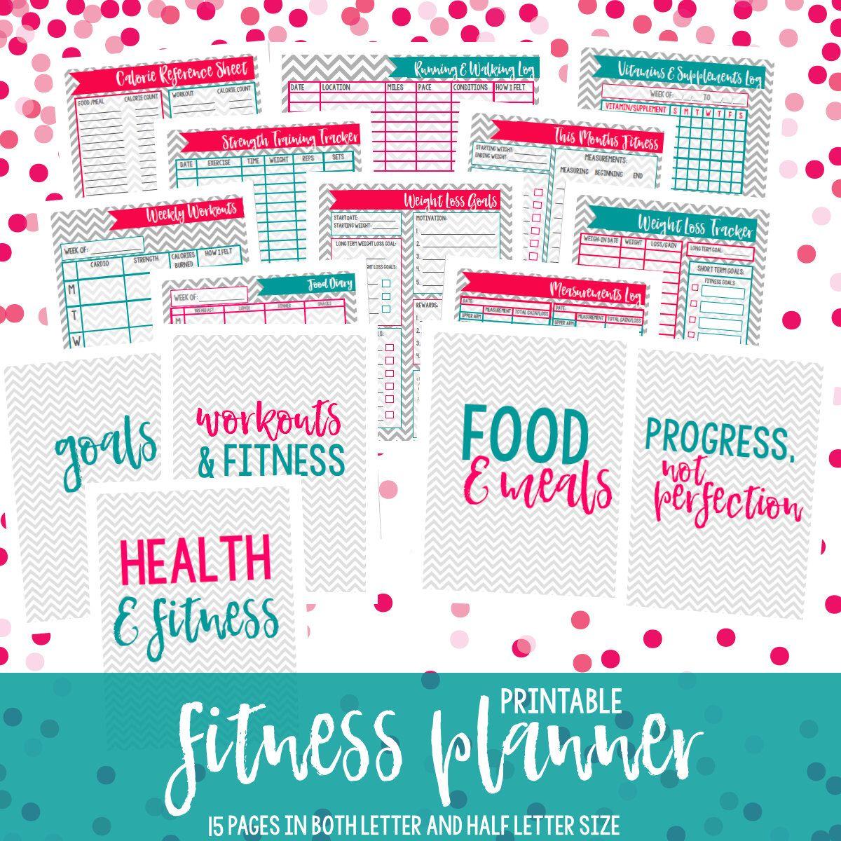 Health Planner Fitness Journal Printable Fitness