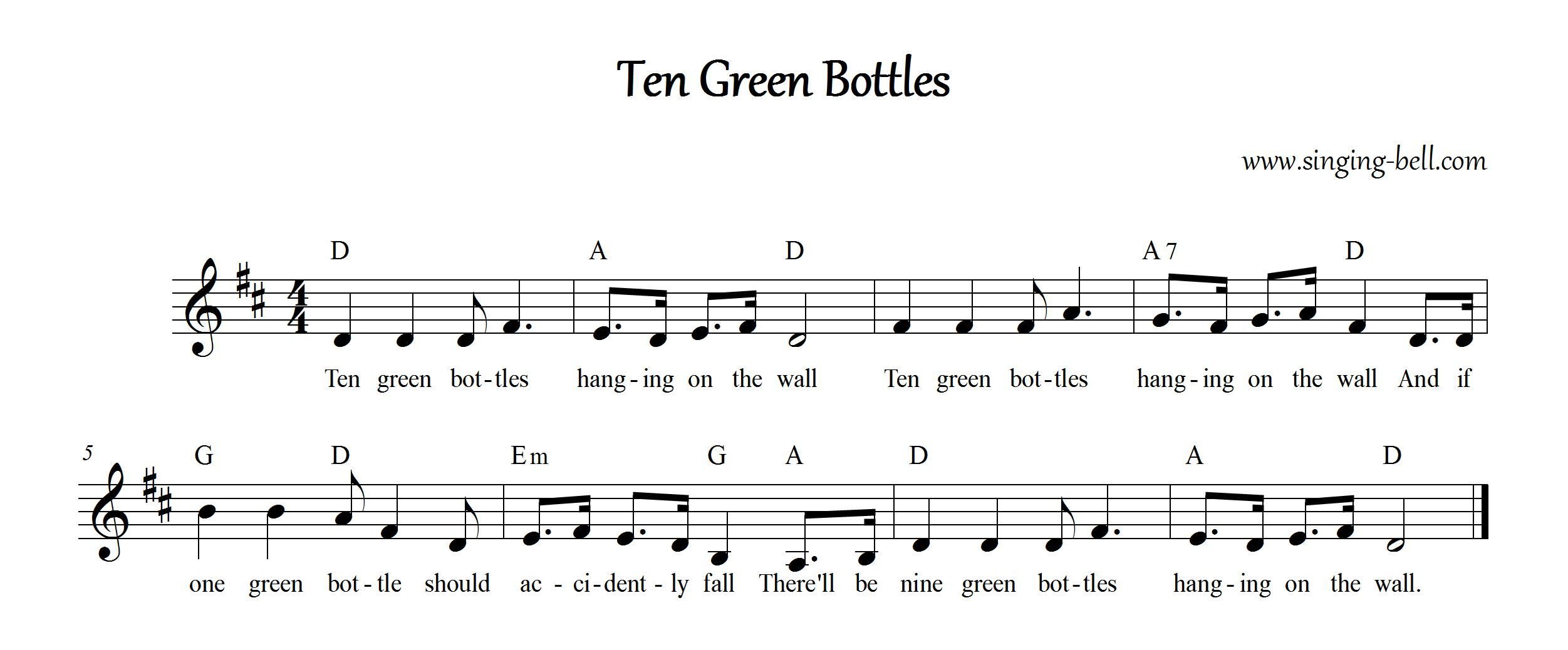 Ten Green Bottles Green Bottle Ten Rhymes For Kids