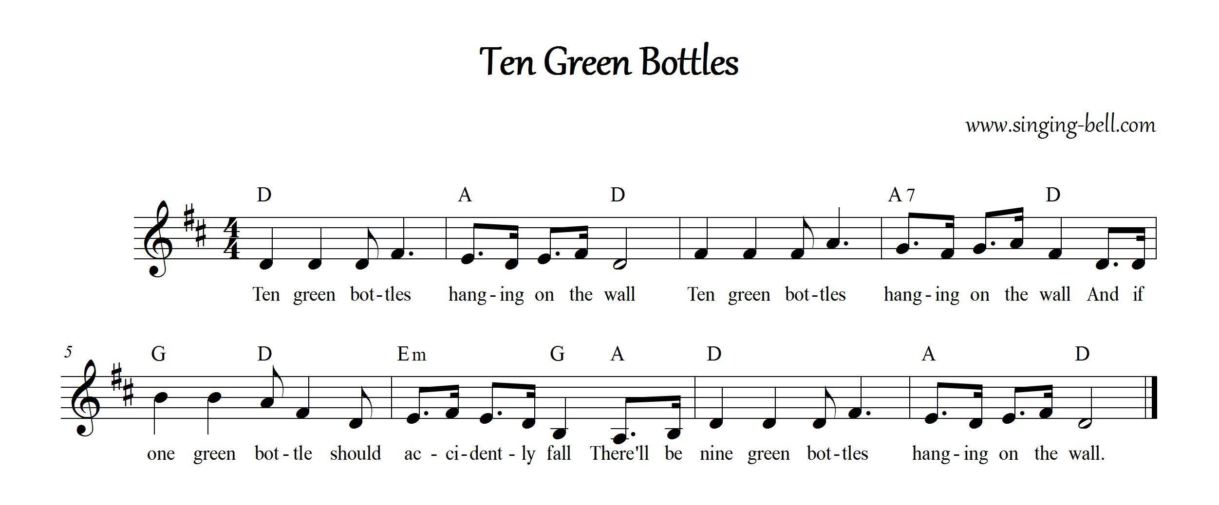 Ten green bottles free nursery rhymes and children rhymes ten green bottles music score with chords hexwebz Choice Image