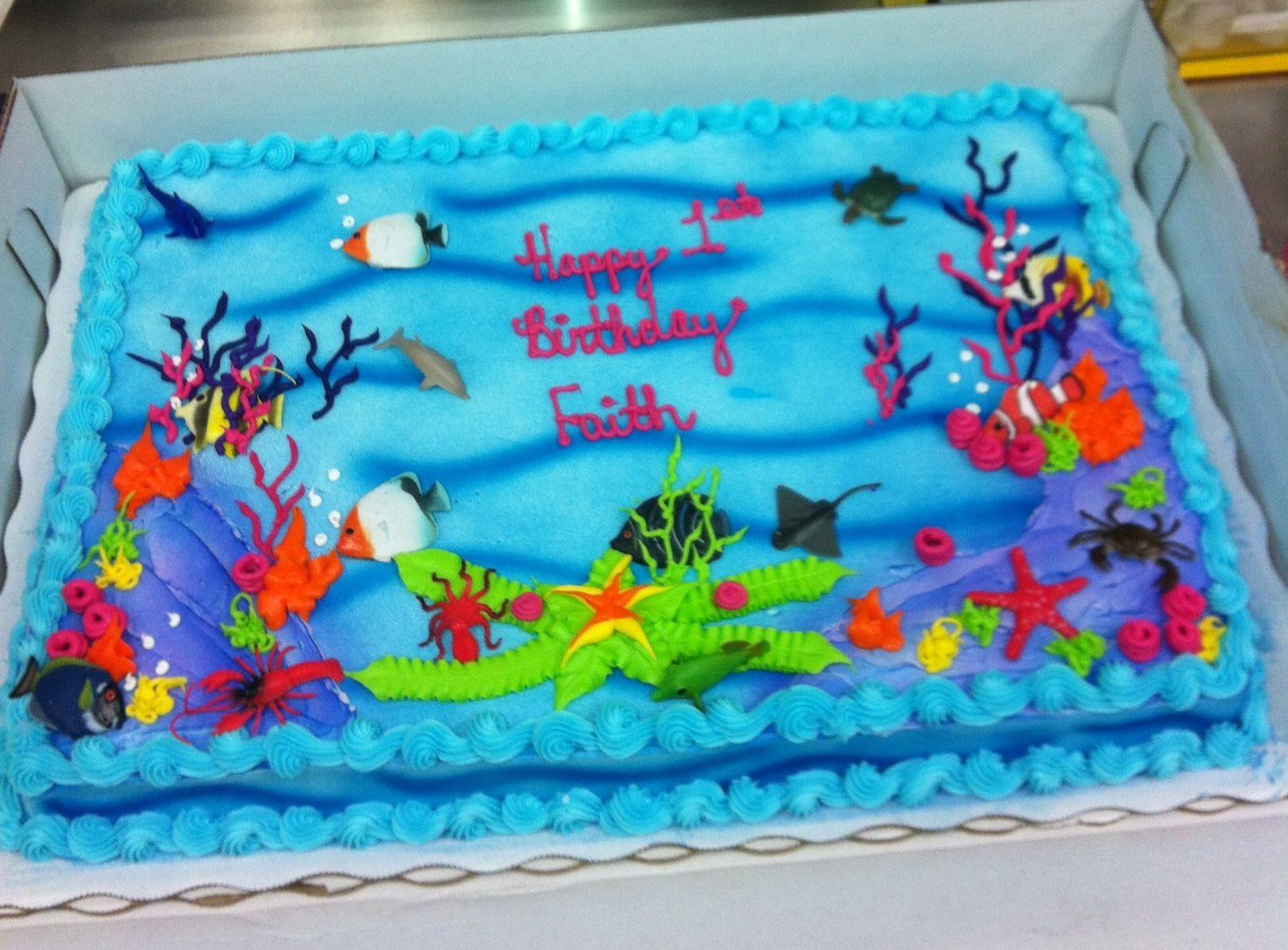 Awesome An Aquarium Theme Cake I Made Angela H With Images Aquarium Funny Birthday Cards Online Necthendildamsfinfo