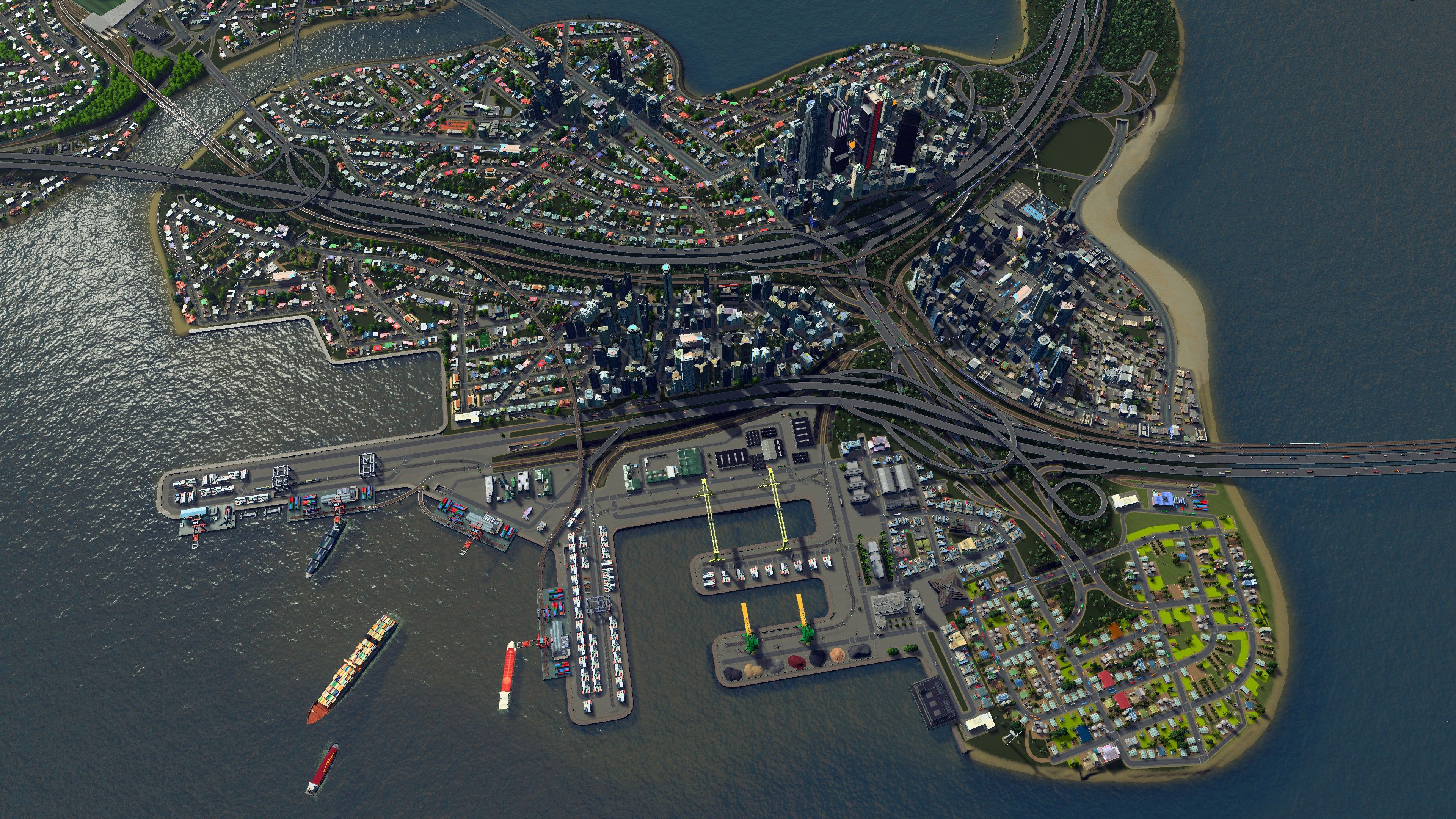 Aerial Shot Of The Port In My Current Build Santa Palma City Skylines Game City Layout City Design
