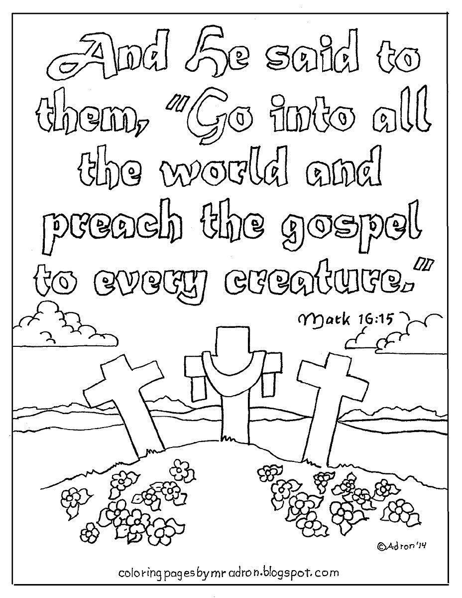 Coloring Page Of Mark 16 15 Christian Coloring Free Kids