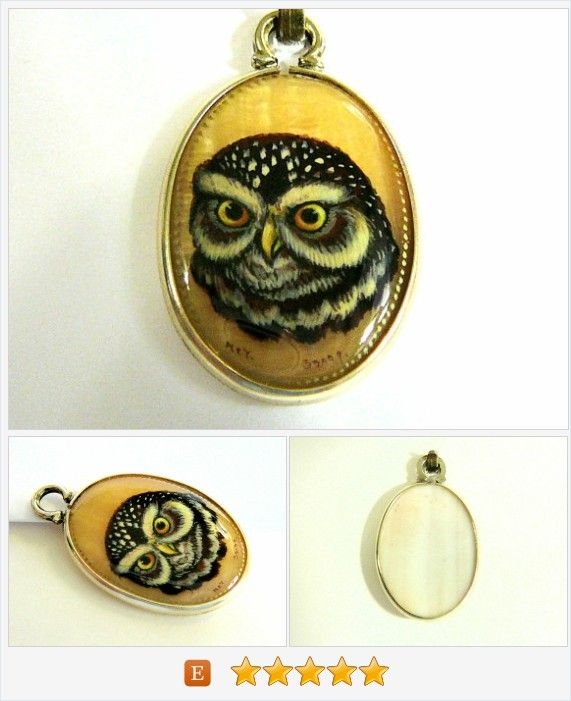 Hand Painted Cameo Owl Pendant Mother Of Pearl Shell Cab Unisex Jewelry Owl Lover Gift Wearable Art https://www.etsy.com/listing/468206353/