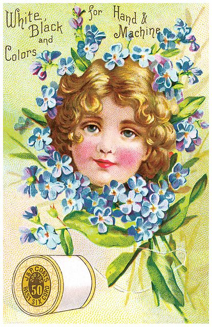 Thread Ad with girl surrounded by blue flowers