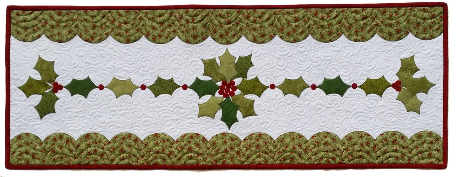 machine quilted table runner hand painted berries