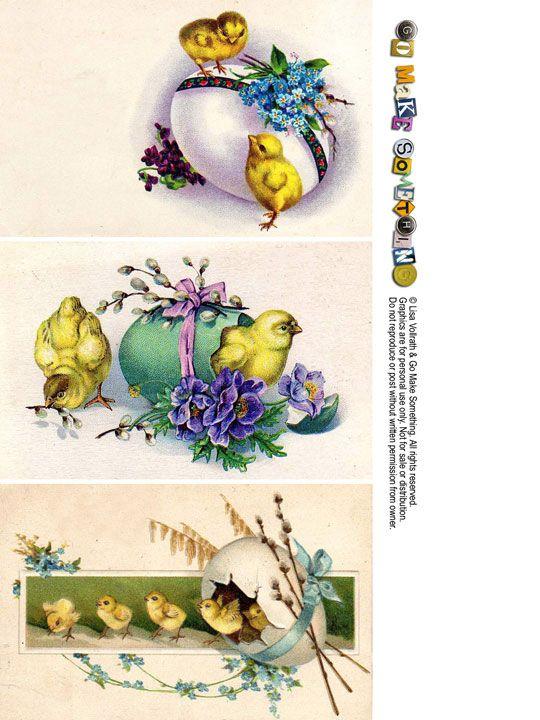 """de jolis petits poussins illustrent ces reproductions de cartes vintage, à télécharger sur le site """"Go Make Something""""..."""