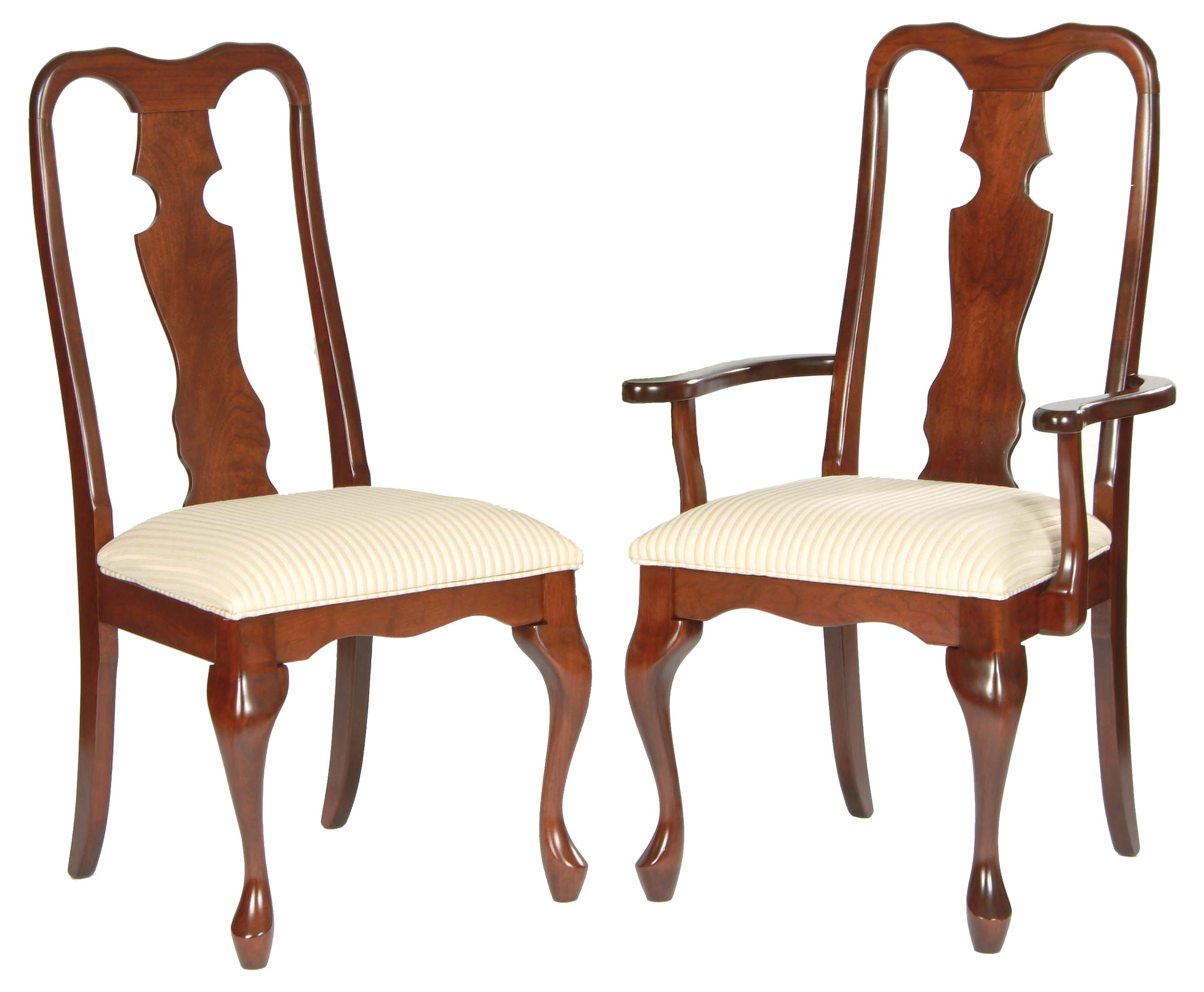 Queen Anne chairs with solid splat and thin cabriole leg ...