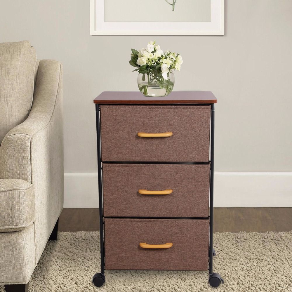 Lifewit Rolling Chest Of 3 Drawers Heavy Duty Nightstand Bedside Table End Table Assembled Storage Cabinet For Bedroom Furniture Wood Bedroom Furniture Furniture Prices Cheap End Tables