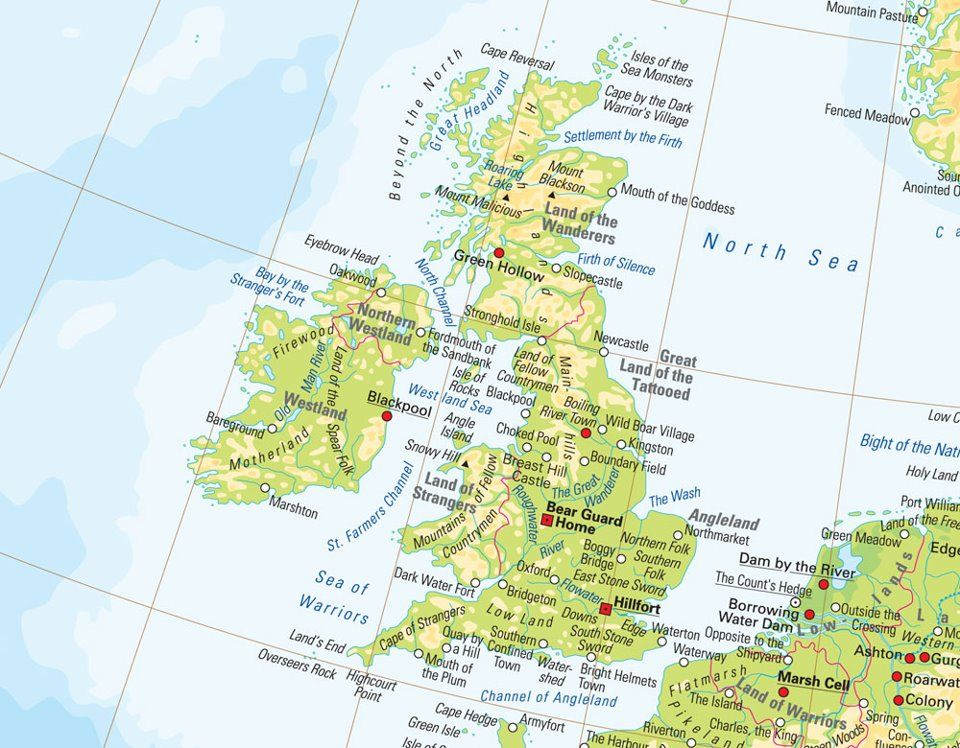 Great Britain labeled with the literal names of the locations ...