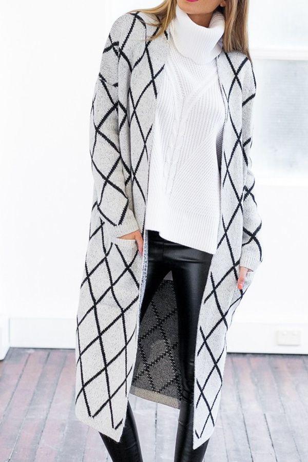 Collarless Argyle Pattern Long Sleeve Cardigan