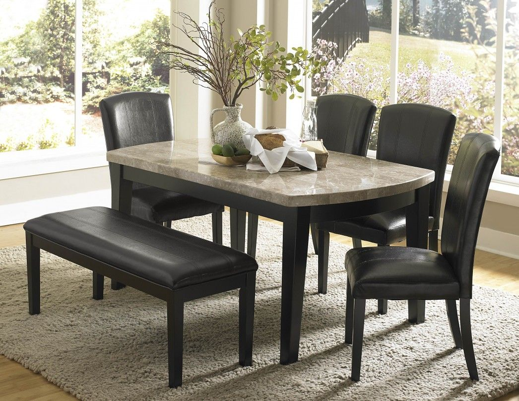 Granite Top Kitchen Table Set: Impressive Black Dining Set Ideas Black Leather Dining