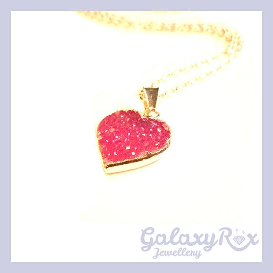 Image of Small Druzy Heart pendant in Candy Pink