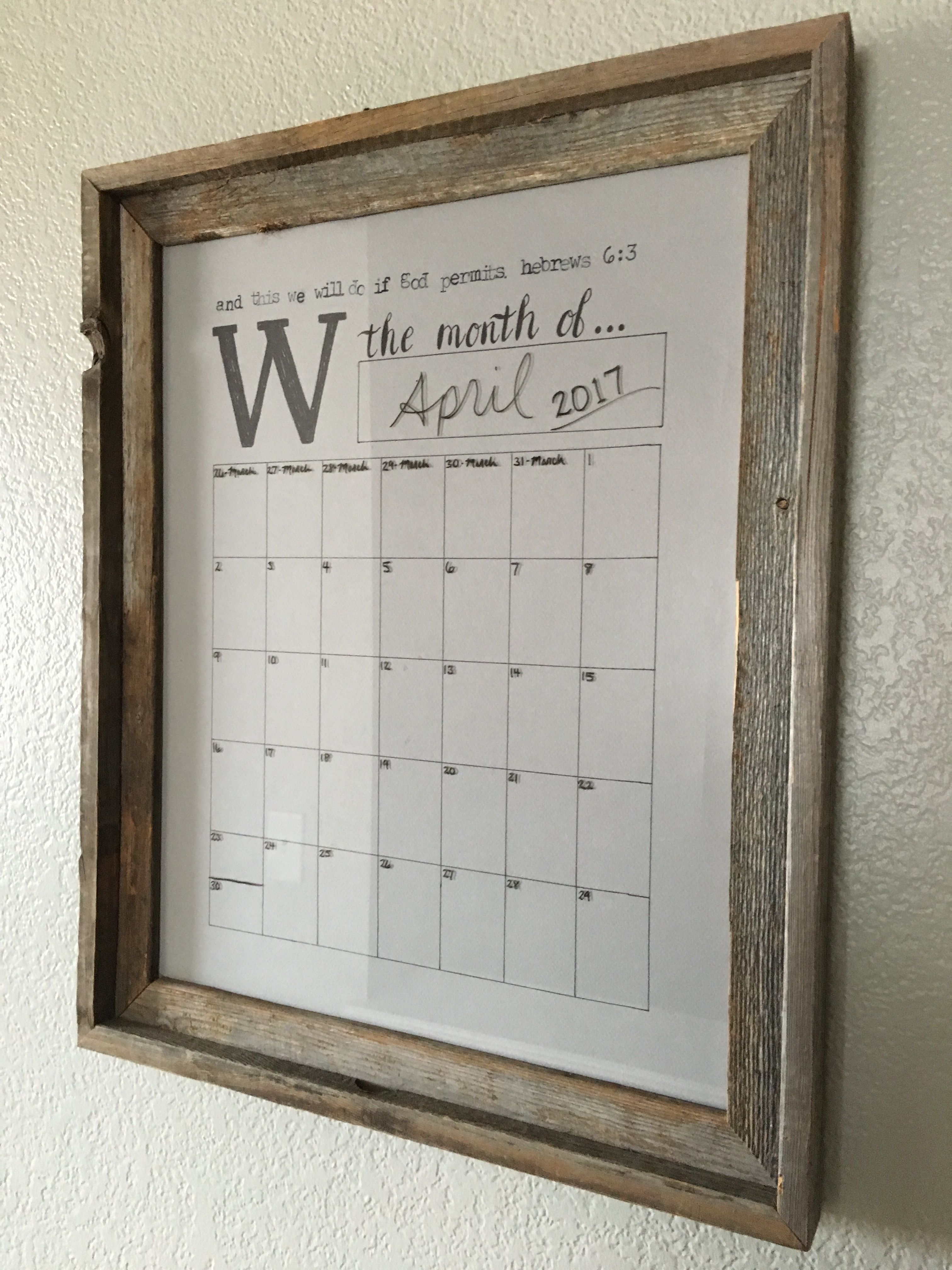 Calendar Whiteboard Ideas : Diy farmhouse style dry erase wall calendar for the home