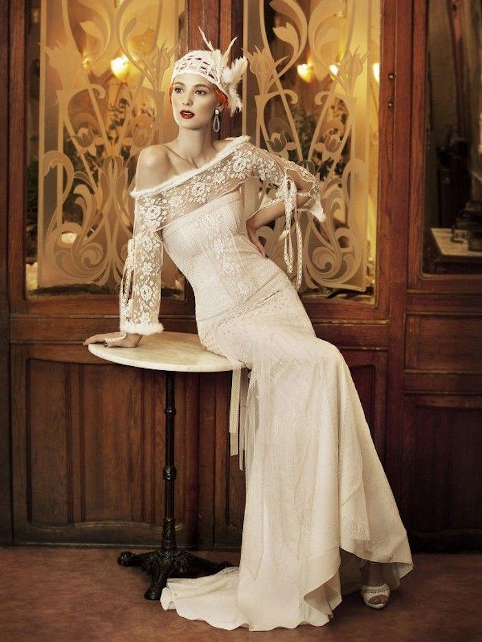 hochzeitskleider spitze, brautkleid im vintage stil, braut mit retro ...