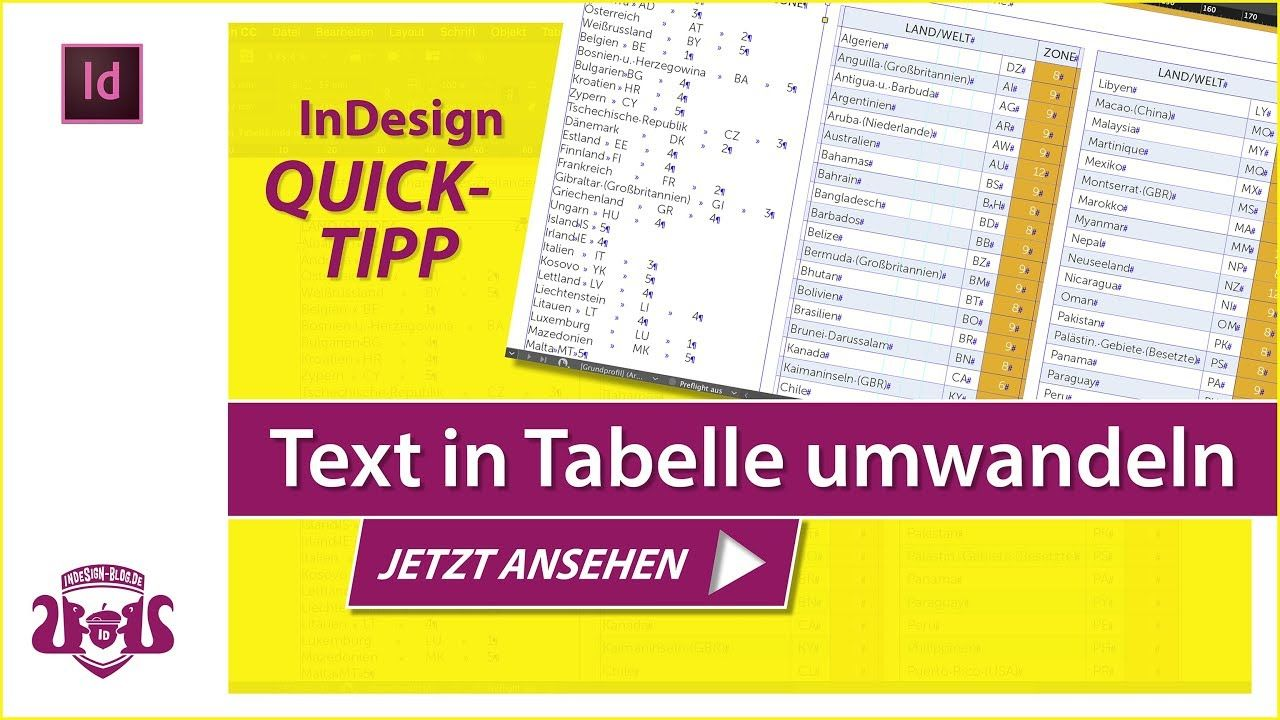 Text In Tabelle Umwandeln Indesign Quick Tipp Tabelle Tipps Broschure