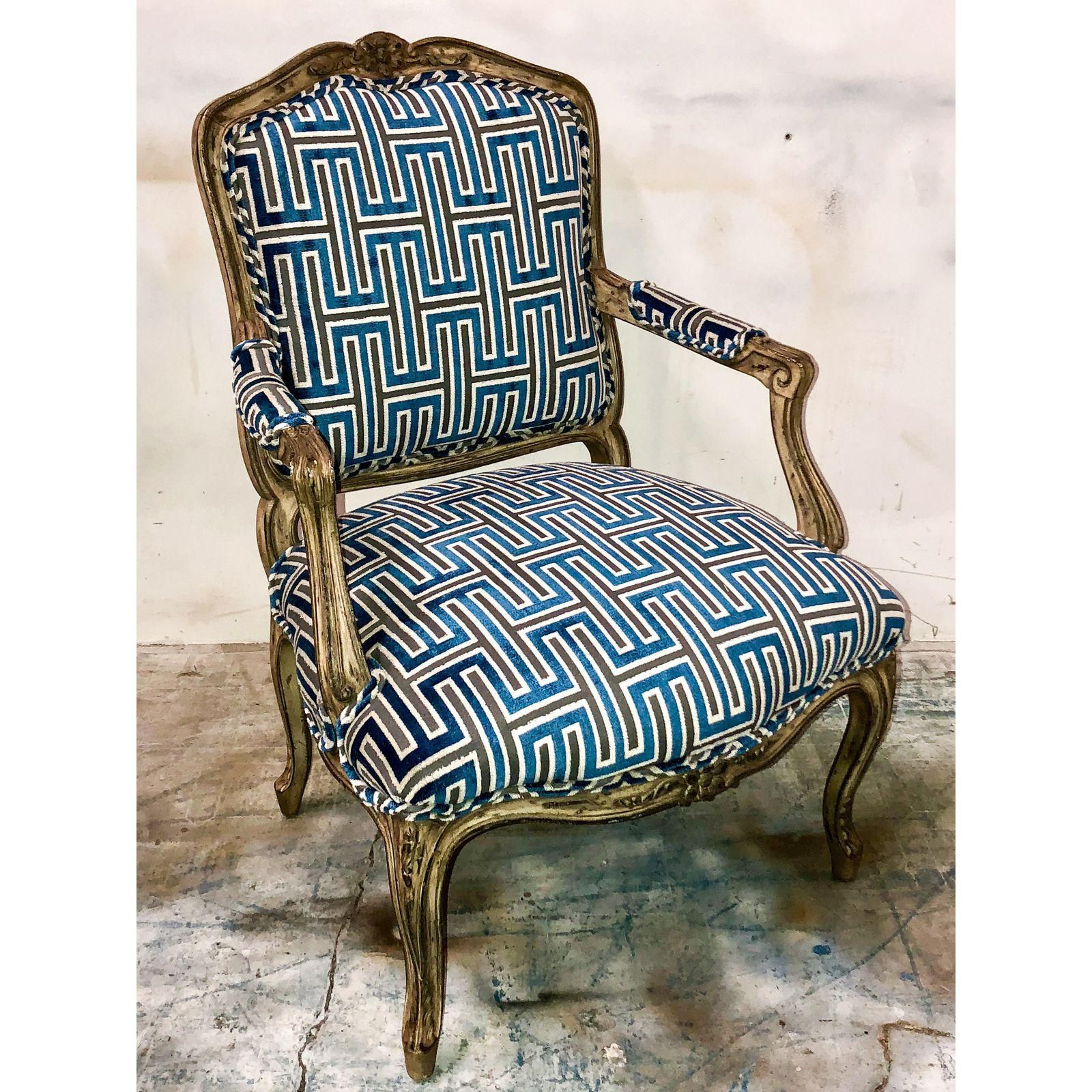 French Bergere Arm Chair in Velvet Leather chaise lounge