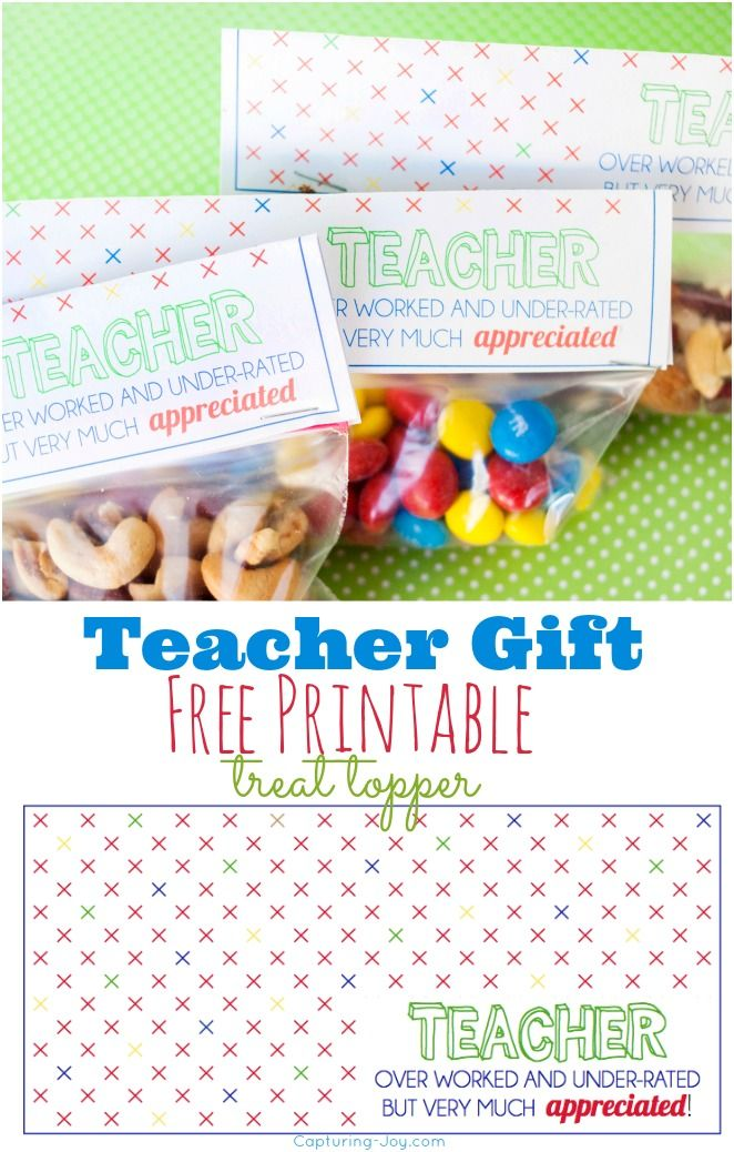 Teacher Gift Treat Topper Printable | Staff appreciation | Pinterest ...