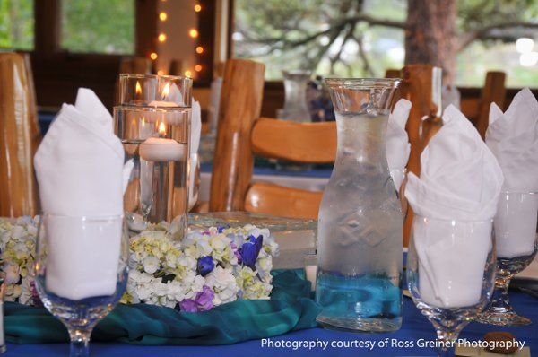 Blue Purple White Centerpiece...replace purple with yellow and/or green