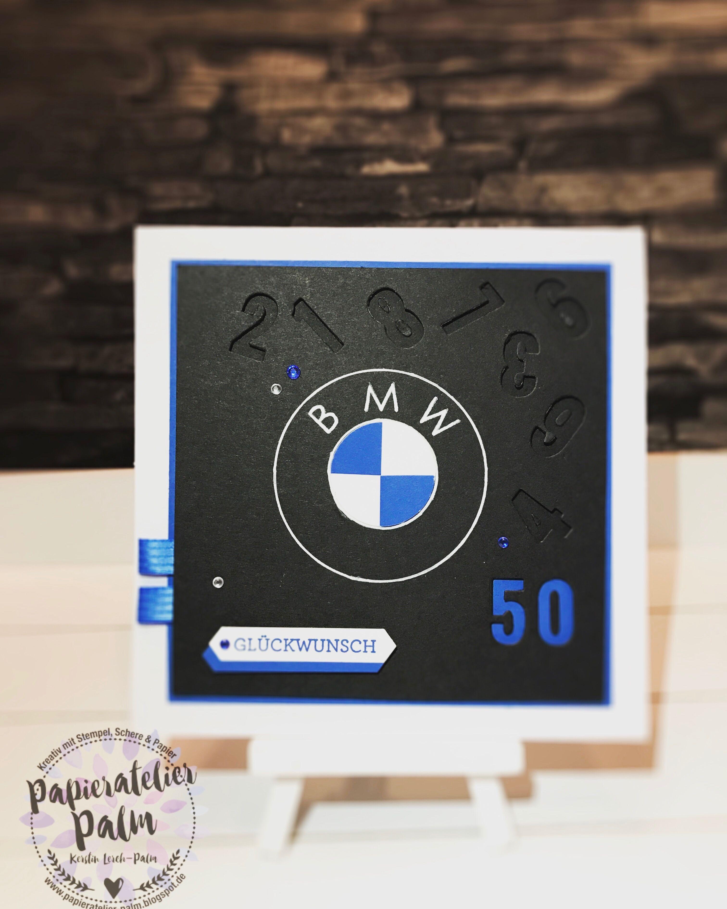 Stampin up Geburtstagskarte 50. BMW Auto Männerkarte Pazifikblau