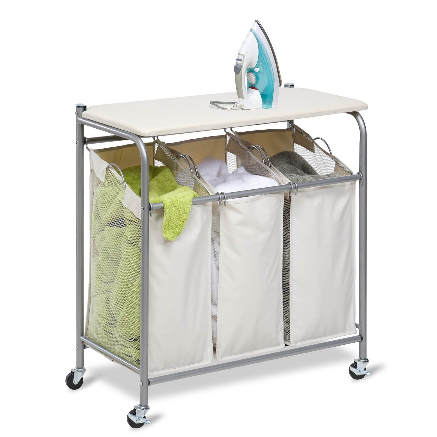 Triple Laundry Sorter With Lift Up Ironing Board