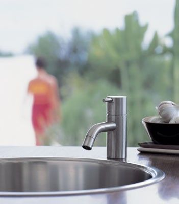 Vola HV1 Basin Mixer Tap - Arne Jacobsen designer brassware available in an array of fantastic colours, from bold orange, green and red to brushed stainless steel, matt black and natural brass