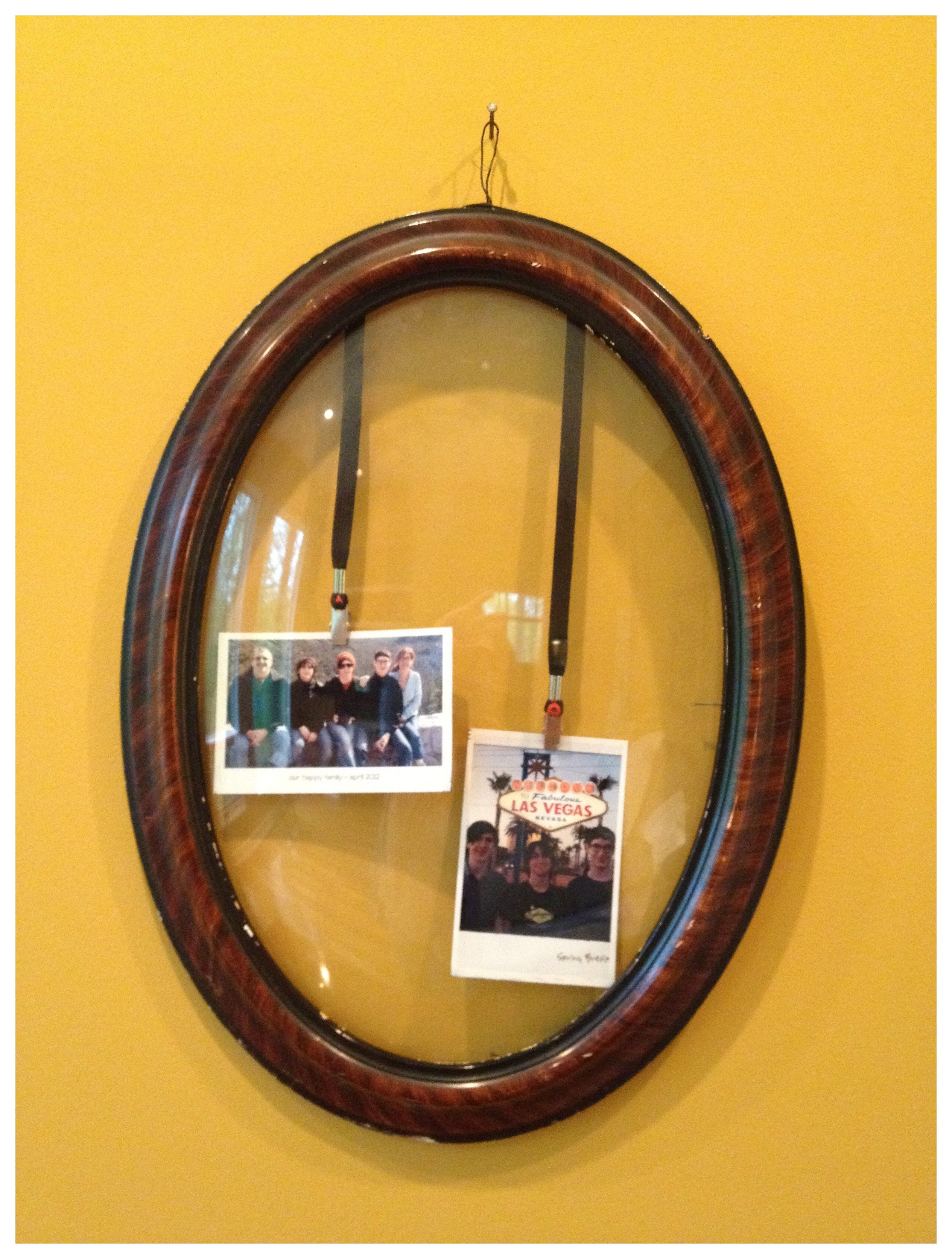 Old wooden frame with convex glass - now a fun frame to display our ...