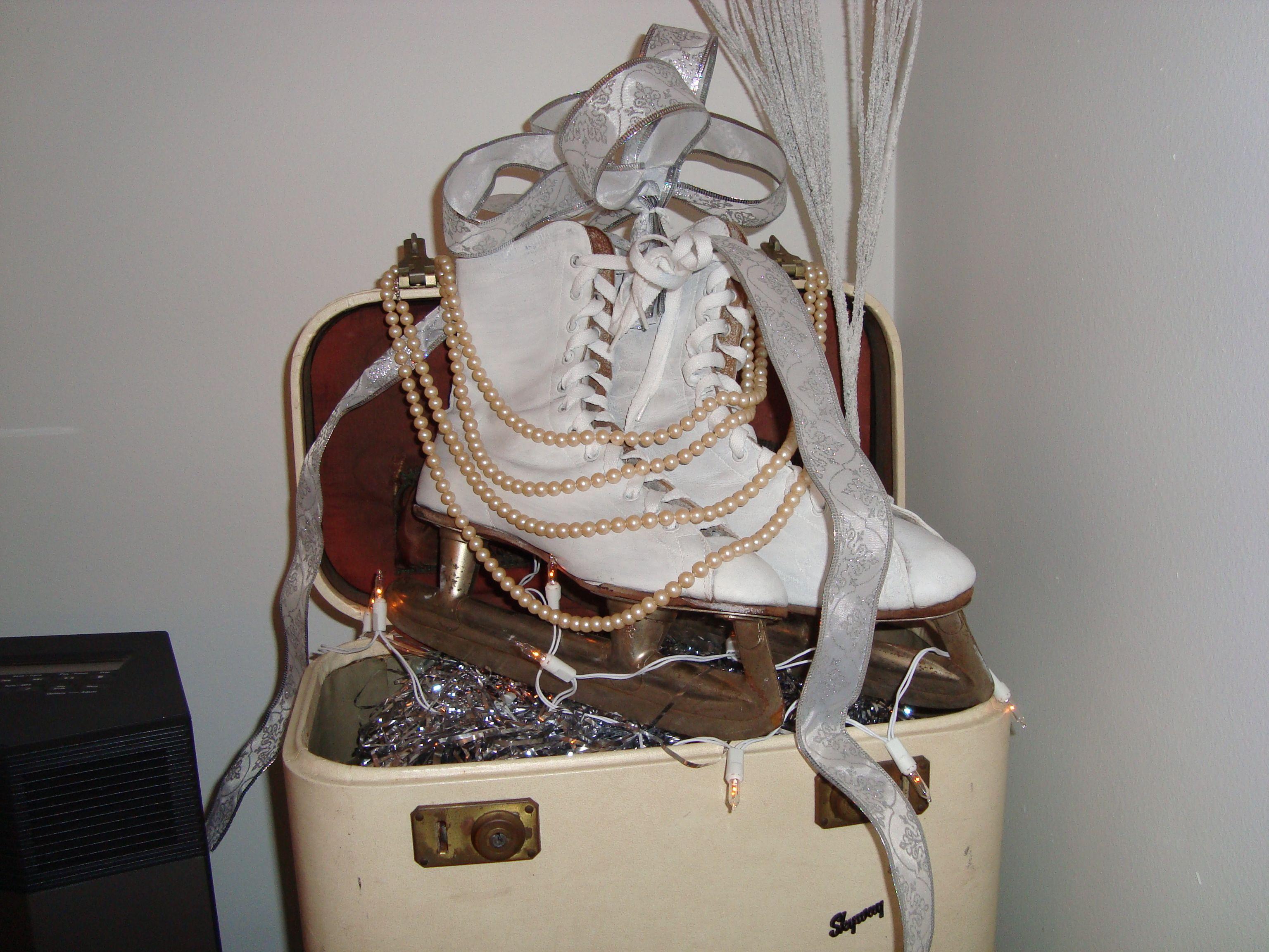 White Christmas Vignette...antique ice skates inside ...