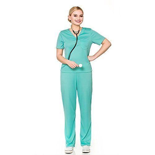 Mens Adult ER Surgeon Costume Scrubs Doctor Hospital Uniform Fancy Dress New