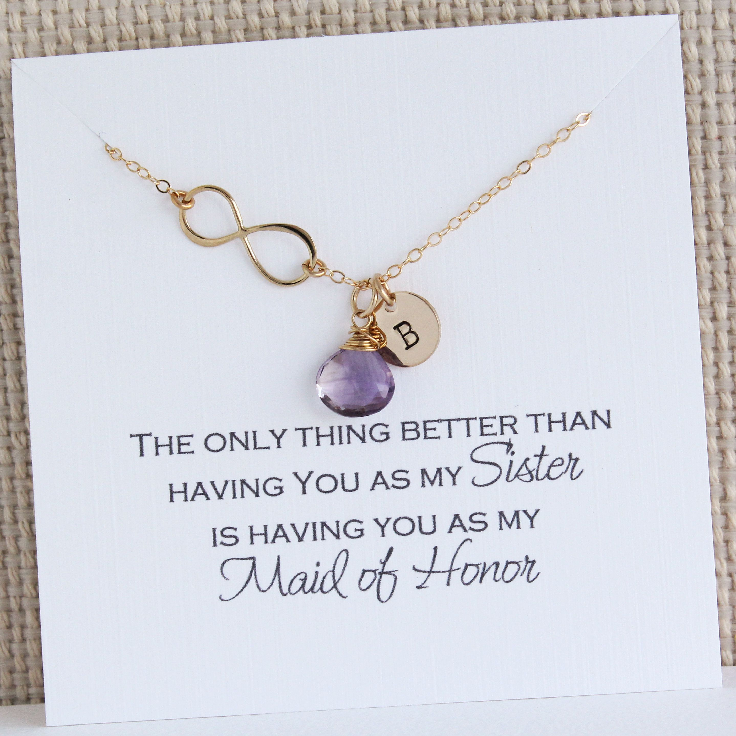 Maid Of Honor Infinity Gold Necklace With Birthstone And