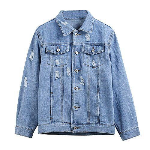 21886661443 Jiusike Women Autumn Winter Outwear Boyfriend Denim Casual Jacket Vintage  Long Sleeve Loose Jeans Coat Best Winter Coats for Women USA