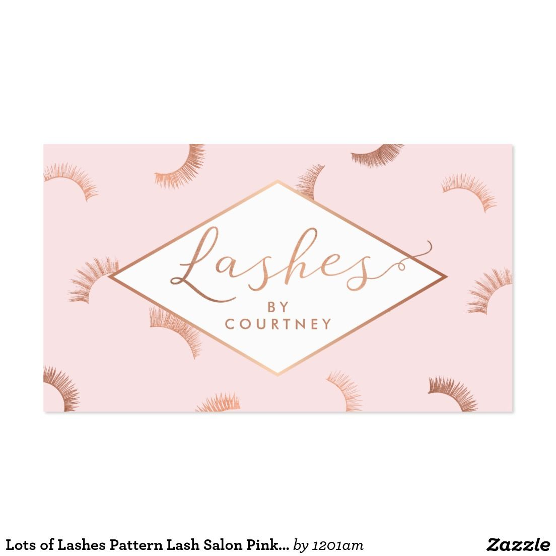 Lots of Lashes Pattern Lash Salon Pink/Rose Gold Business Card ...