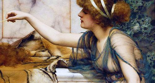 Mischief and Repose (details) by John William Godward (1861-1922)  1895