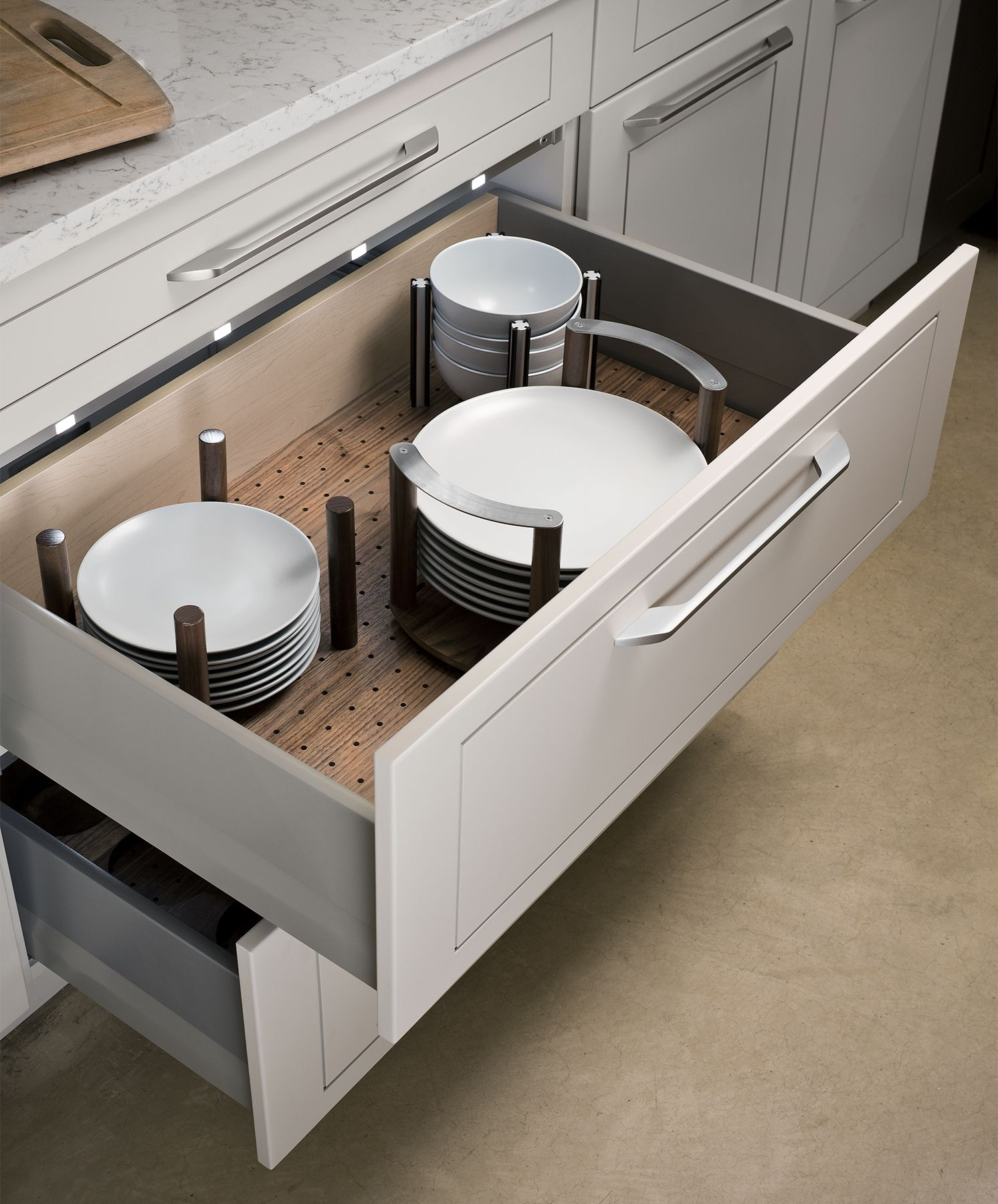 Custom Kitchen Cabinet Accessories: Dish Drawer Pegs, Important If No Upper Cabinets, Possibly