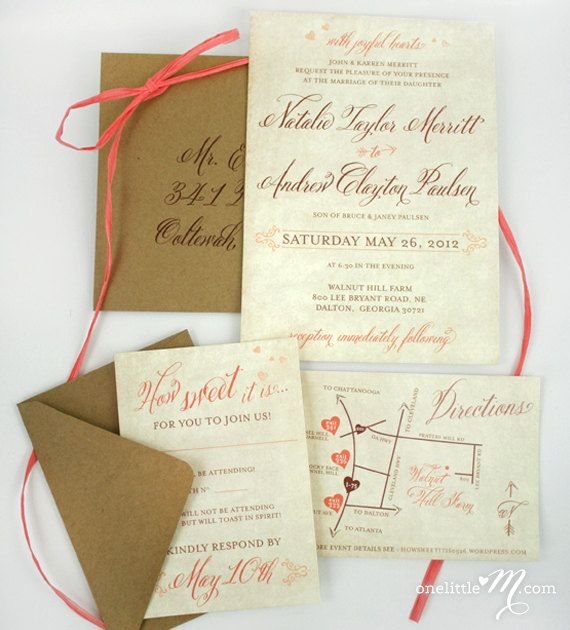 Love the color combo minus the hearts Rustic Sweet Coral Wedding