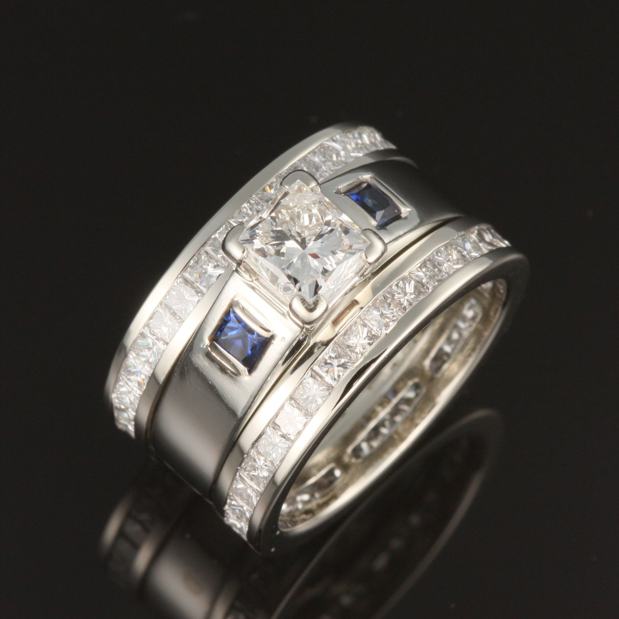 custom bezel sapphire rings diamond celebration band designed wide accents bands ring delicate pin set featuring