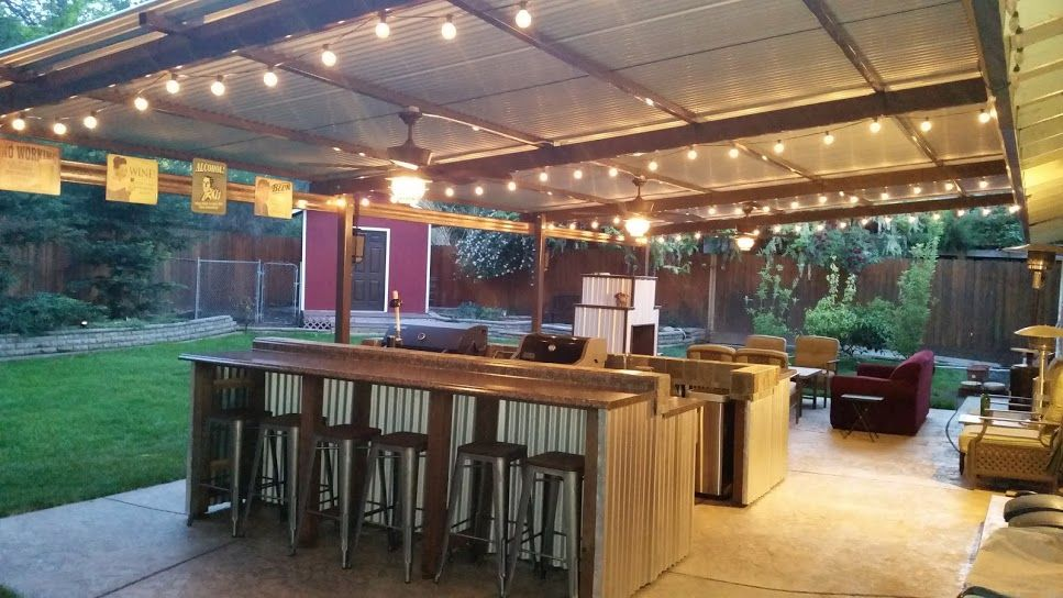 Beau Corrugated Metal Roof Back Patio With Outdoor Kitchen And Fireplace