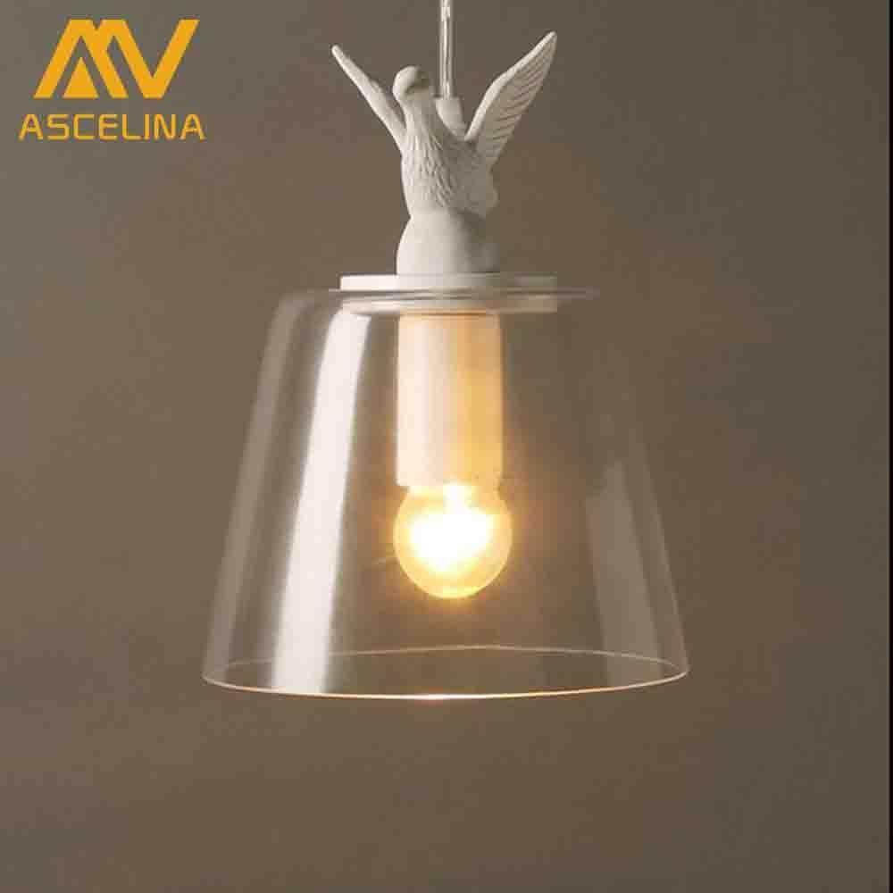 decorative dove design transparent glass pendant light vintage