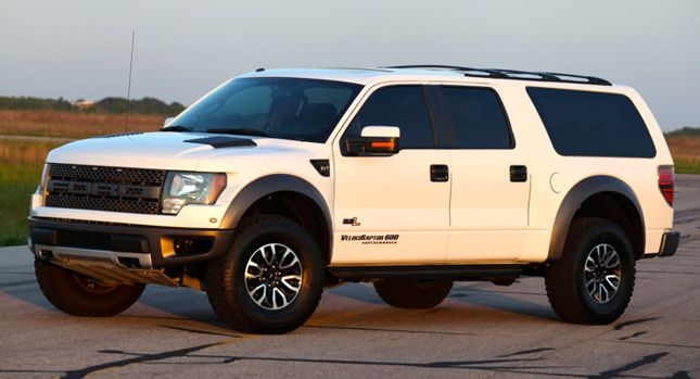For 149 500 Hennessey Will Turns The Ford F 150 Raptor Into The 8 Seat Velociraptor Suv Carscoops Ford Raptor Ford Excursion Ford Trucks