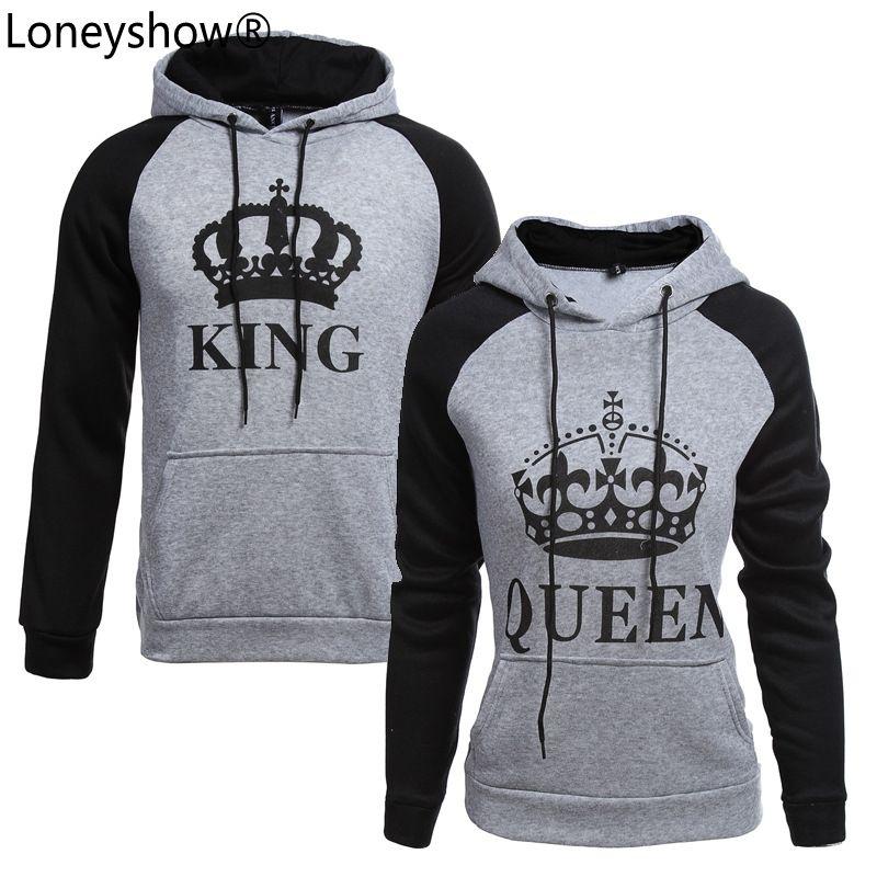 2017 King Queen Crown Print Unisex Men Women Autumn Hoodies Slim Sweatshirt For Couple L Camisetas Casuales Ropa De Parejas Que Combinan Sudaderas Para Parejas