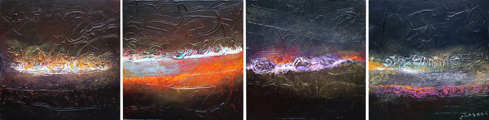 """""""Quickening (Tetraptych),"""" Acrylic on Canvas, 4 Panels (Each 16 x 16 in.)"""