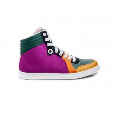 08f3a0cde GUCCI - Sneakers lace up in satin and suede multicolor - Elsa-boutique.it # Gucci