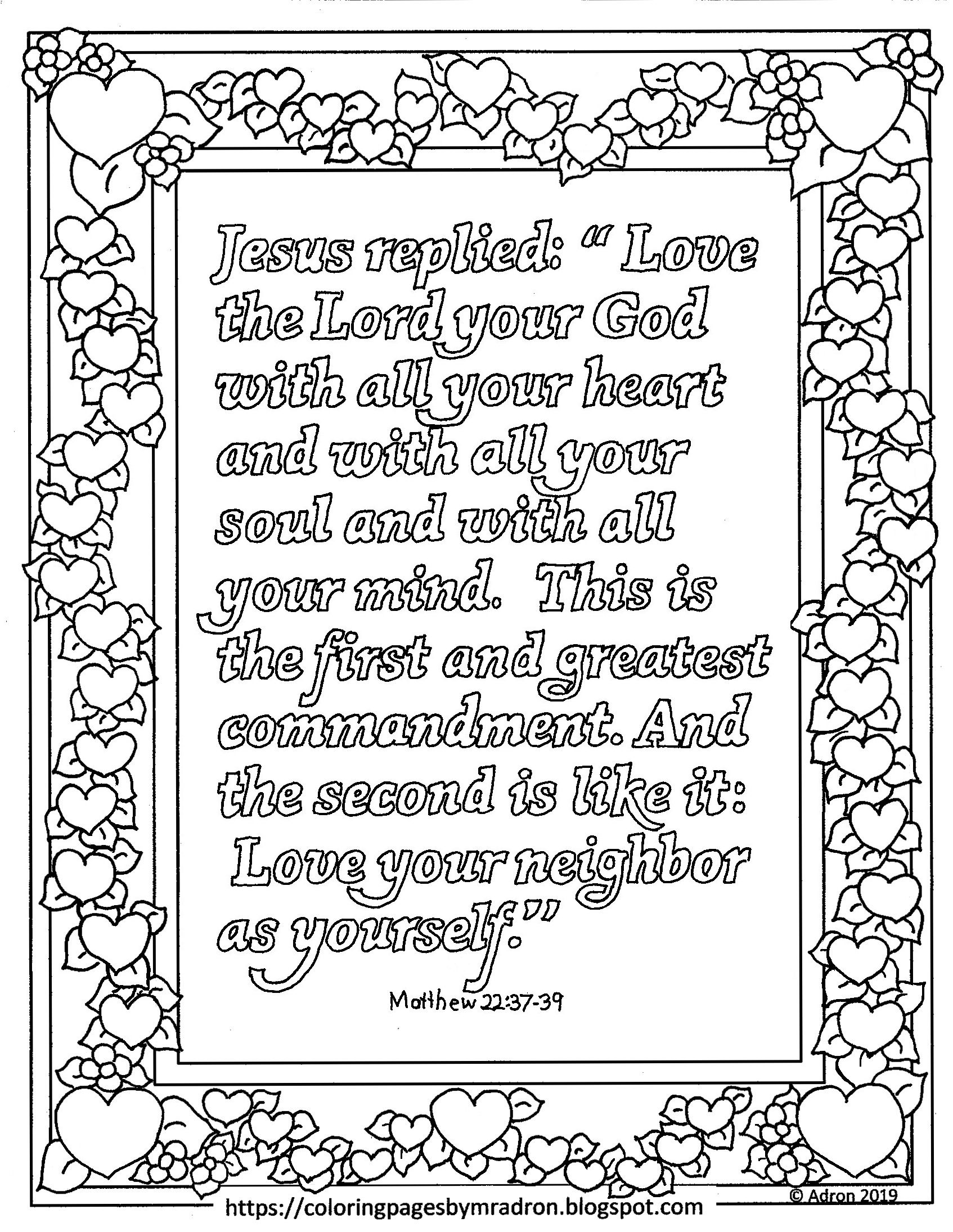 Free Printable Matthew 22 37 39 Coloring Page The Greatest