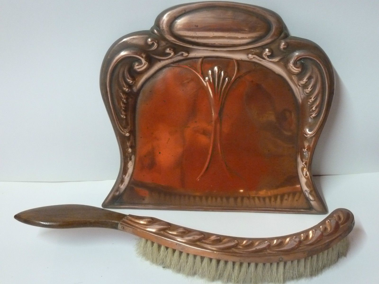 Antique Art Nouveau Copper Crumb Butler Table Brush Dustpan Brush Set Tray  R88 In Antiques,
