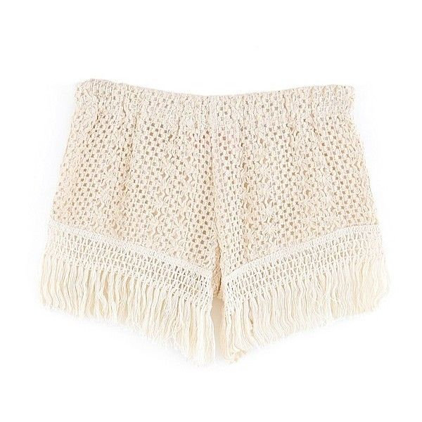Crochet Hot Pants With Fringe Hem ($19) ❤ liked on Polyvore featuring shorts, bottoms, stylemoi, low rise shorts, mini short shorts, hot pants, short shorts and hot short shorts