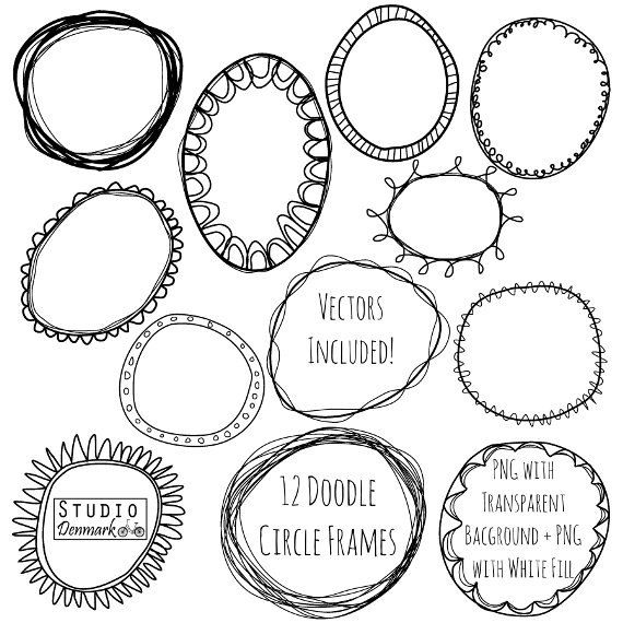doodle circle frames clipart
