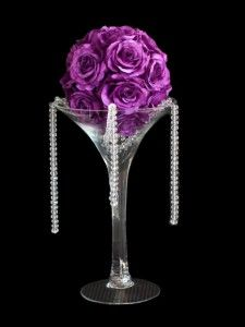 Martini Gl Centerpieces Kissing Ball In Vase Centerpiece Available At Bridal