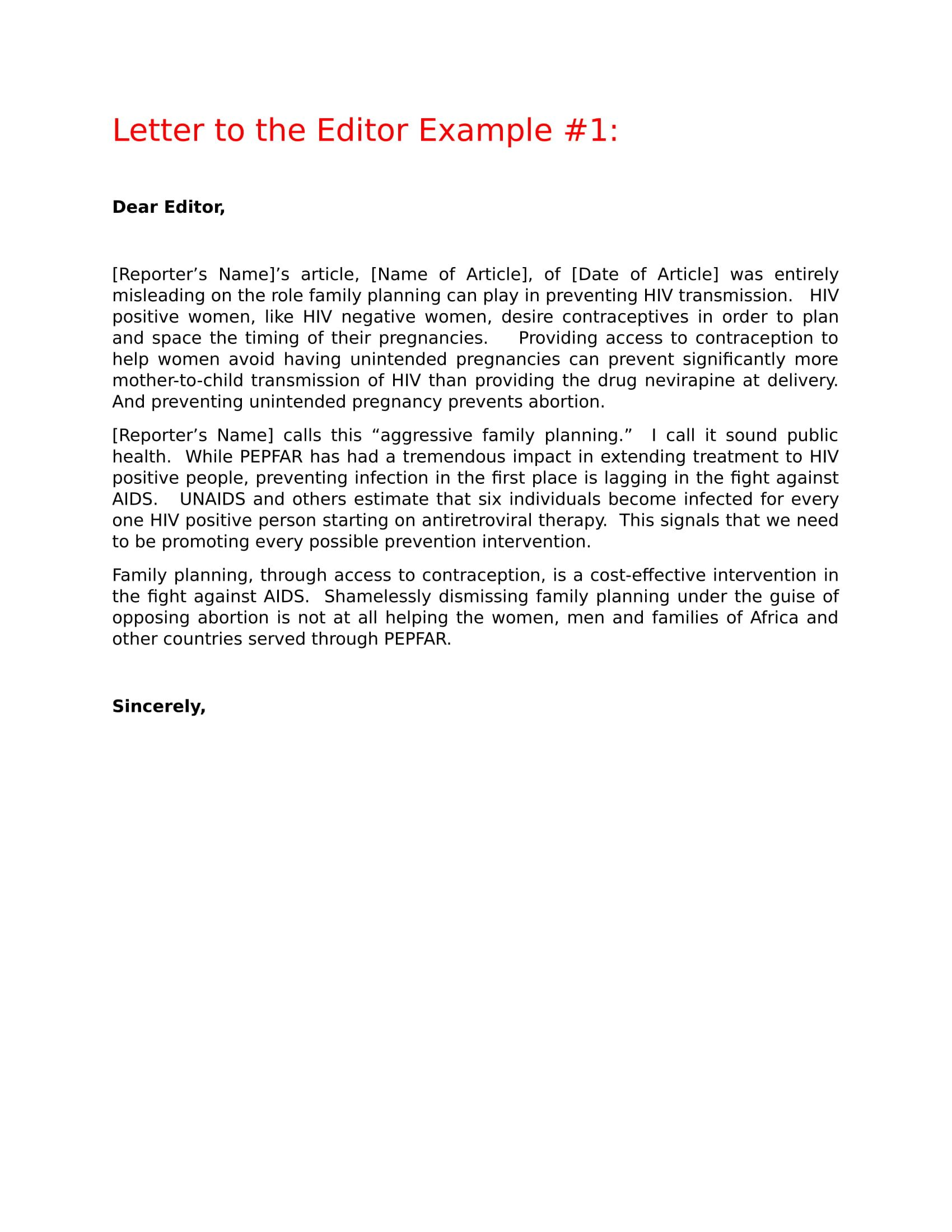 Letter to the Editor Format Template Example Letter to