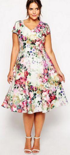 Платья в цветочек для полных фото