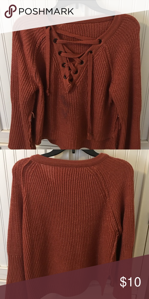 Lace front sweater SO COMFORTABLE! Lace front brick colored sweater Sweaters V-Necks