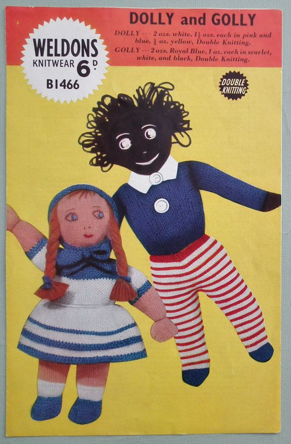 Vintage 1940s 1950s Knitting Pattern Knitted Toys Doll And Golly